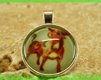 cabochon glass N64 Taurus charm pendant