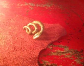 Vintage Brass Serpent Snake Size Adjustable Ring