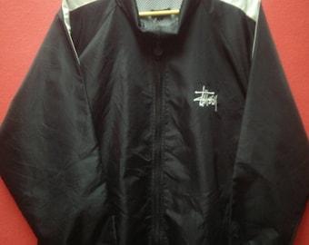 Mega Sale!!Vintage Stussy Jacket Satin Zipper /Street Wear /Pop Art / Hip Hop /,Size L
