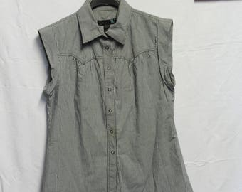 Vintage black gingham sleeveless shirt