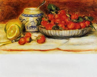 SET of TABLE ORIGINAL semi-rigid AESTHETIC WASHABLE and durable / Pierre auguste Renoir / still life with strawberries