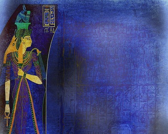 ORIGINAL PLACEMAT - Art of ancient Egypt, the goddess Egyptian Isis with a wall of hieroglyphics of lapis lazuli.