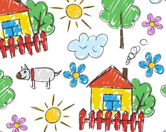 Kids PLACEMAT, ORIGINAL design, WASHABLE and durable - kids drawing - after the rain, the weather.