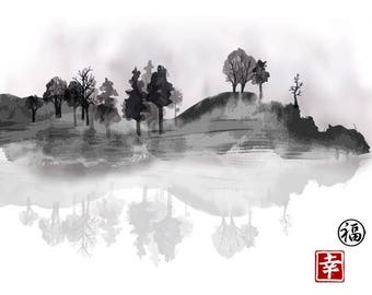 PLACEMAT - SEMI rigid, ORIGINAL, AESTHETIC, WASHABLE and durable - painting Japanese (wash) - trees at the Lake.