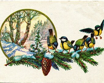 VINTAGE TABLE SET, ORIGINAL design, WASHABLE and durable - chickadees on a tree branch - classic.