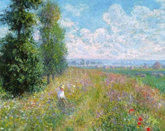 ORIGINAL design, durable and WASHABLE PLACEMAT - Claude Monet - an afternoon in the fields - classic.