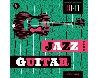 ORIGINAL design, durable and WASHABLE PLACEMAT - musical - jazz guitar - classic.