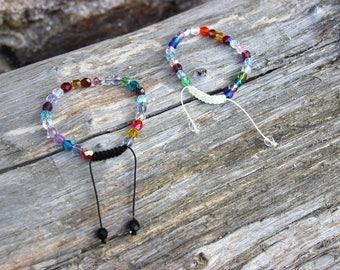 Bracelet multicolored Bohemian translucent faceted beads