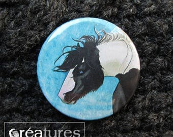 Badge 38mm with Gypsy Vänner portrait in watercolor