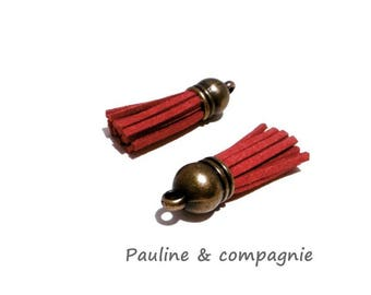 Red suede tassel 2 charms