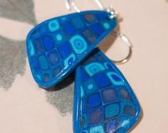 Earrings polymer clay mosaic, gradient of Blues. Petal shape