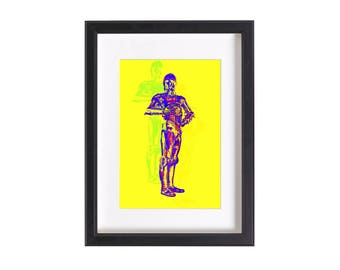 Pop art print of C3PO Star Wars   Funky pop art print poster 6x4 or 12x8 inches   Ready to be framed and matted   Free Shipping #4