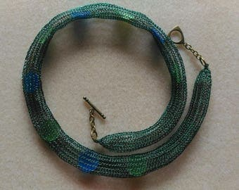 Handmade crocheted copper wire necklace