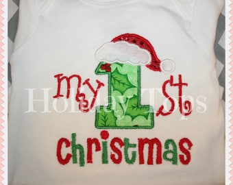 My 1st Christmas Embroidered  bodysuit Personalized with name
