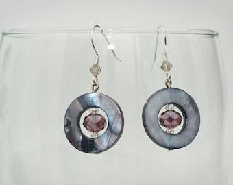 Modern and Stylish Purple and Smoke gray Disc Earrings