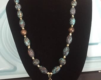 Antique brass and turquoise necklace