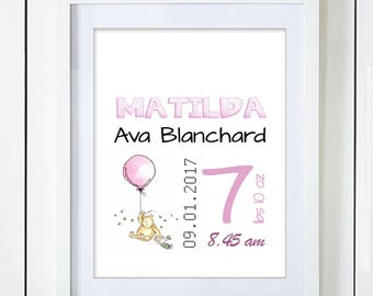 Pink Classic Pooh and Piglet Birth Announcement Baby Stats Watercolor Art Print