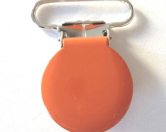 1 round orange metal pacifier clip