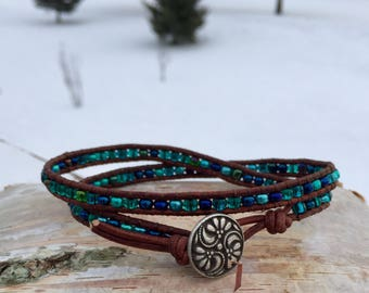 Xl or Xsm Brown Leather Wrap Bracelet- Iridescent and metallic teal glass seed Beads - Brown Leather