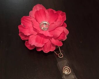 Retractable Badge Clip handmade pink w/ jewel flower.