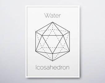 Icosahedron Print, Platonic Solids, Geometric Print, Sacred Geometry, Geometric Wall Art, Icosahedron, Modern Home Decor, INSTANT DOWNLOAD