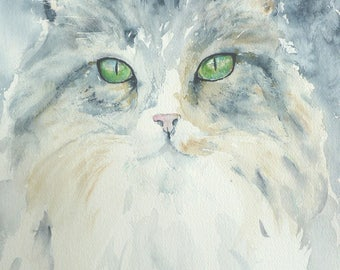 Original watercolor portrait of a cat shag on paper