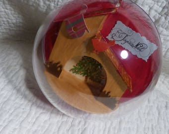 Ball clear decoration of Christmas to hang or lay