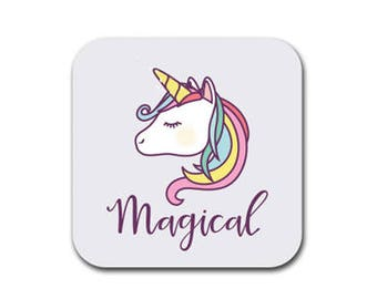 Magical Unicorn Coaster Set of Six - Joke Humor Gift Coasters for Drinks - Absorbent | Furniture Safe - Unicorn Gifts Quality Neoprene