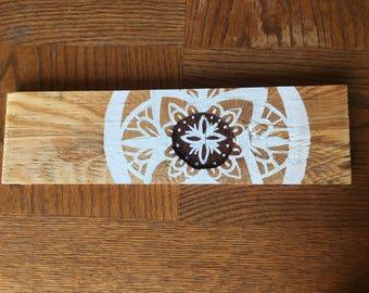 Mandala in notch hand painted wood