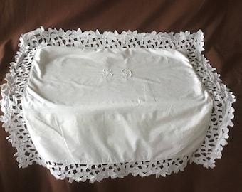 Pillowcase. Antique and handmade linen pillowcase with Richelieu embroidery technique monogram LD. Vintage pillowcase Taie D'oreil
