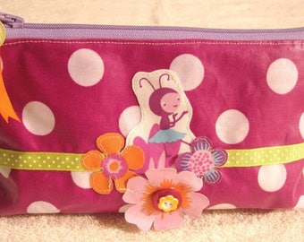 Clutch medium TIPHAINE plum coated cotton with white dots
