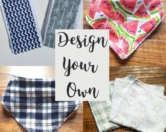 Design Your Own, Bandanna Bibs, Burp Cloths, Baby Gift, You Choose Your Fabric, Baby Boy, Baby Girl