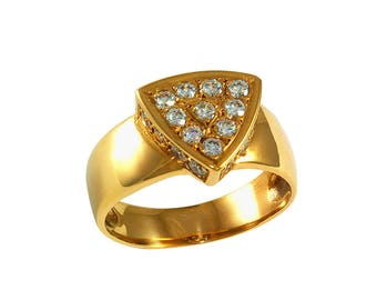 ISOS-L version ring yellow gold and diamonds. Contemporary jewelry, minimalist design.