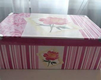 Big flower fuchsia/stripes 36 * 24 cardboard box