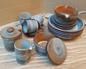Beautiful and rare seventies ceramic tableware set