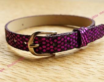 purple glitter leatherette Bracelet 8mm round