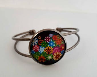 Bracelet adjustable cabochon flower