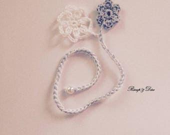 Bookmark crochet fancy flower duo