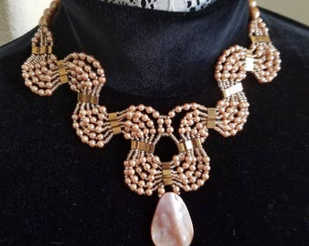 Handcrafted Necklace made with Pearl and Seashell