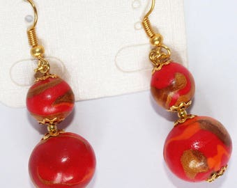 Earrings with two round fimo beads