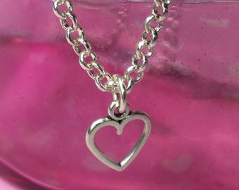 Silver plated heart charm necklace