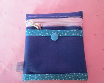 light blue card and coin purse