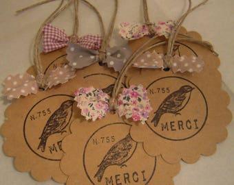 """6 round kraft labels serrated, stamp bird """"MERCI"""", shades of pink cotton"""