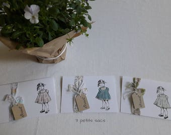 """3 cards double """"children"""", liberty of London, old lace ribbons.  shabby vibe"""