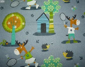 Fabric C551 Elks playing badminton coupon 50x50cm