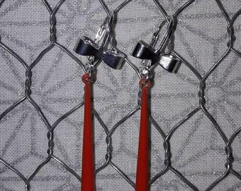 Dangling earrings, long drop enamel pendant