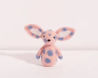 Kaori the baby pink and blue needle felted bunny