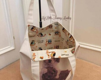 Transferred puppy image duck cloth canvas tote bag