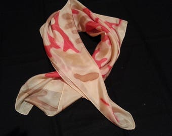 Tri-color silk square scarf