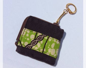 Mini purse Keychain, wax fabric